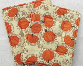 Pot Holders - Pumpkins - Insulated and Cotton Batting - Unique and Handmade