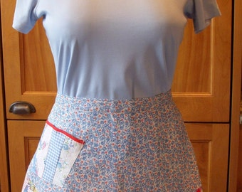 Half Apron with Patchwork Flounce, Newly Handmade From Feedsack and Vintage Fabrics