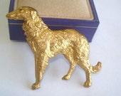 Borzoi Dog Vintage Jewelry Animal  Brooch Gold Tone