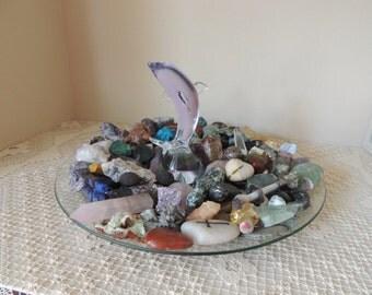 Lavender Murano Glass Dolphin Figurine. Hand Blown Light Violet Glass Dolphin Statue. Art glass Dolphin