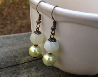"Earrings - Dangle - Pale Green Pearls and Stone - Antique Bronze - ""Breathe Me"""