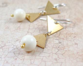 Triangle Dangle Earrings, Geometric Jewelry, Gold Triangle Earrings, White Beaded Earrings, Bohemian Jewelry