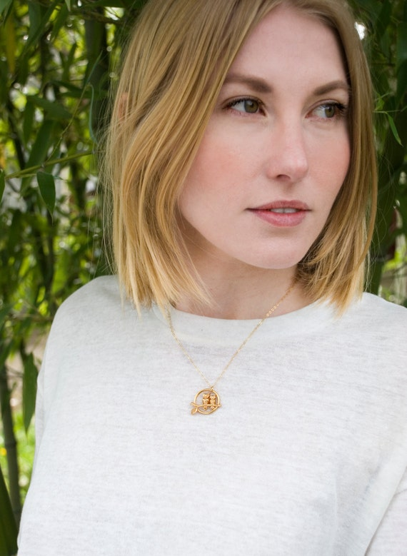 Vintage Gold Owls Necklace, Two Tiny Birds Necklace, Owl Jewelry, Owls Pendant, Eco Friendly Necklace, Two Owls Jewelry