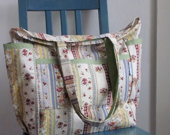 Sweet Floral Stripes Large Upcycled Weekender - Country /Rustic Inspired Cotton Market / Shopper / Diaper Bag - Repurposed Eco Friendly Gift