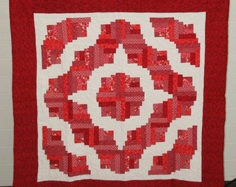 Red and White Scrappy Log Cabin Quilt