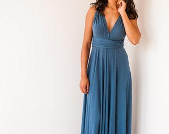 Indigo blue bridesmaid dress, denim blue long bridesmaid dress, riverside blue infinity dress, long blue dress, blue bridemaid dresses