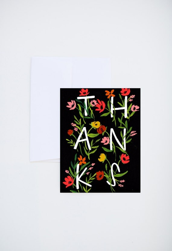 Thank You Thanks Floral Letters On Black Painted Greeting