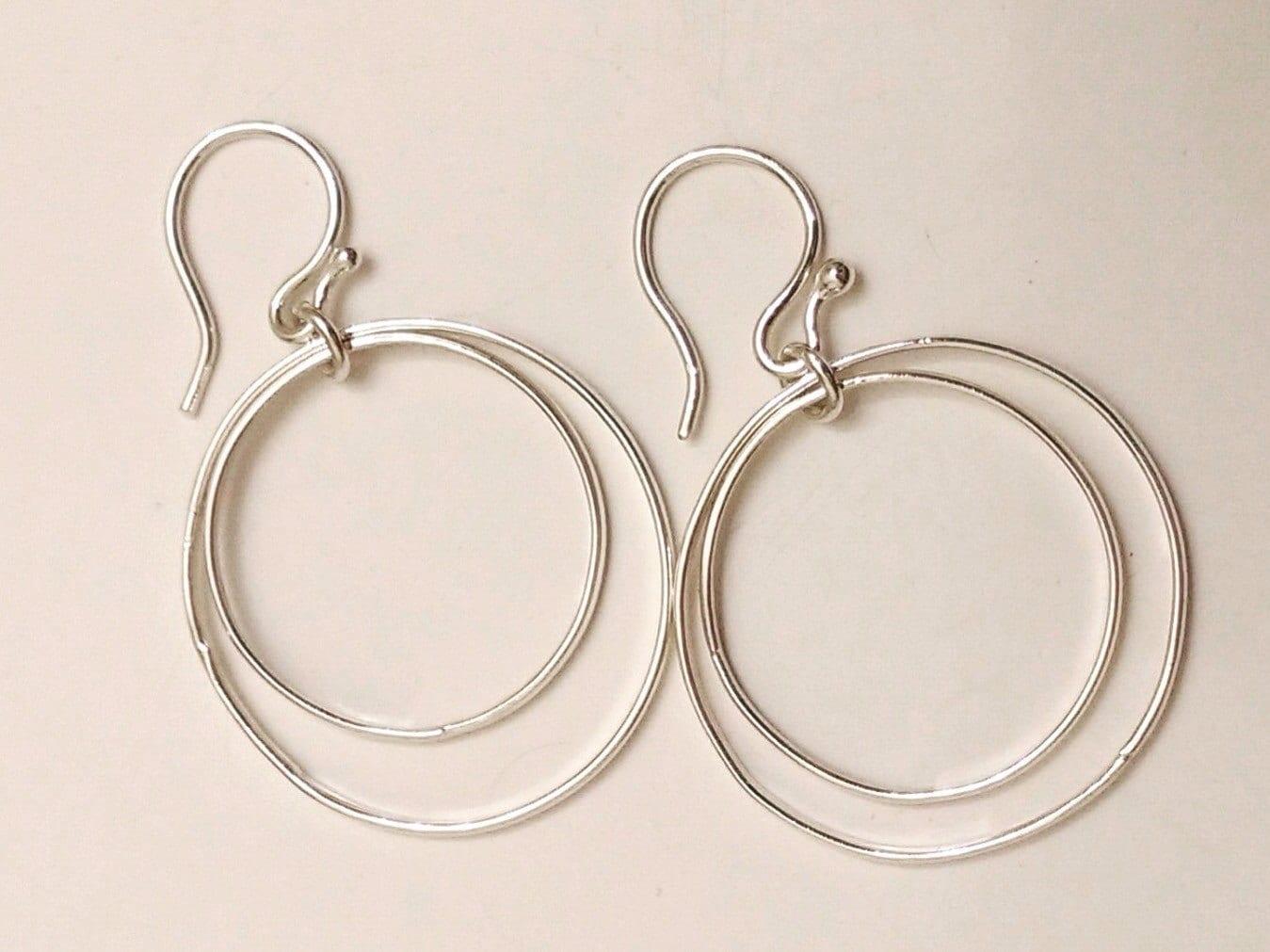 thin silver hoop earrings thin double hoop earrings double. Black Bedroom Furniture Sets. Home Design Ideas