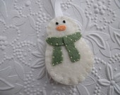 Snowman Ornament Felt Christmas Decoration Primitive Felted Wool