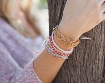 Gold macrame string bracelet. Boho stack. Thread bracelet. Beach bracelet. Friendship bracelet. Girlfriend gift. Gold jewelry. Gift for her.