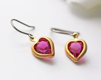 Fuchsia Purple Heart Swarovski Titanium Earrings Vintage Dainty Romantic Simple Everyday