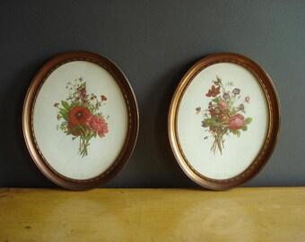 Vintage Flower Prints - Pretty Framed Floral Illustrations - Vintage Oval Frames - Rose Pair - J. L. Prevost