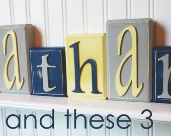Wood letter name block-Price is per block-Custom to your style-Yellow, navy and grey
