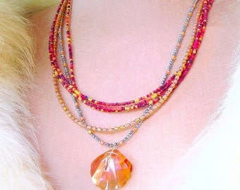 Beach Necklace, Swarovski Crystal Shell Necklace, Silver Pyrite Beads, Orange, Yellow, Candy Shades, 2 Necklace Set, Summer Loving