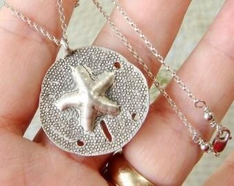 Hill Tribe Silver Necklace, Beach Theme Silver Jewelry, Sand Dollar, Beach Babe, 99% Fine Silver, Beach Jewelry, Seashell, Sea Shell