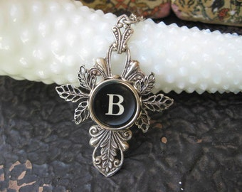 Antique Typewriter Key Necklace LetterB - Leaves