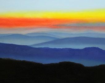 Original Art oil painting landscape blue ridge mountains parkway sunset at milepost 76 oils on panel by artist DG Phelps