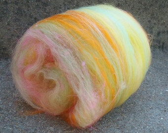 "Colorway ""Citrus"" Hand Carded Fiber Batt Baby Alpaca Merino Silk Bamboo"