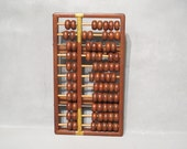 Vintage Wooden Abacus / Ancient Counting Frame, Brown Lacquered Wood Frame with Brass Corners and Wood Beads, Retro Office Desk Accessory
