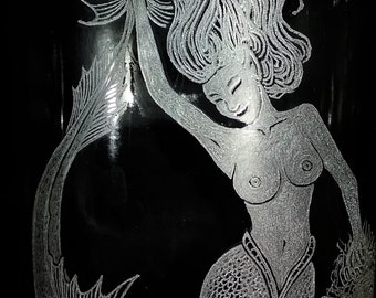 Recycled Whiskey Bottle Mermaid With Her Prize