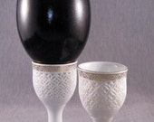 Pair of White cutwork Porcelain and Gold Egg Stands