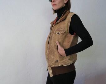 Alpacha pile Leather Bomber vest