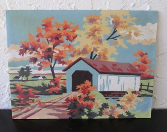 Salt Creek Bridge 4Q2 Craft Master 1958 Mid Century Vintage Paint by Number PBN Unframed Painting