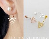Nickel Free - Triangle Ear Studs Back Stoppers - Ear Jackets Golden / Silver / Rose Gold Brass Ear Cuffs Front Back Earrings (BE14)