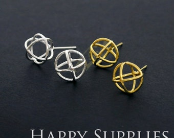 3D Geometric Circle Cube 24K Golden / 925 Silver Plated Brass Earring Post Finding (EE3D03)