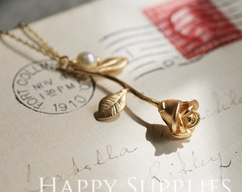 Exclusive - 1pcs High Quality Brass Rose Flower Charm / Pendant, Fit For Necklace, Earring, Brooch (ZZ137)