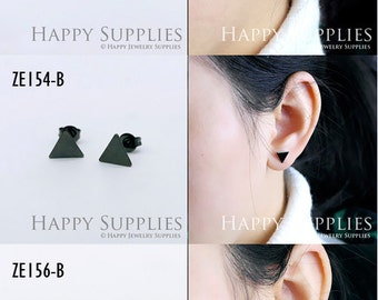 10Pcs (5 pairs) Nickel Free - High Quality Gun Black Brass Heart Triangle Earring Posts Findings (ZE154-B/ZE156-B/ZE163-B)