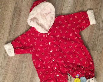 Combination/coat red cotton, lined in white terrycloth for baby (3/6 months)