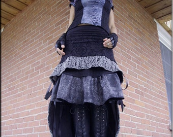 Skirt - Steampunk - Burning Man - Tribal Overskirt - Burlesque - Sexy - Gypsy Bohemian - Burlesque - Black Skirt - Size Small