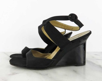 Vintage YSL Yves Saint Laurent Black Strappy Wedges NEW Unworn Criss Cross Ankle Strap YSL Lucite Plastic Heel sz 7.5