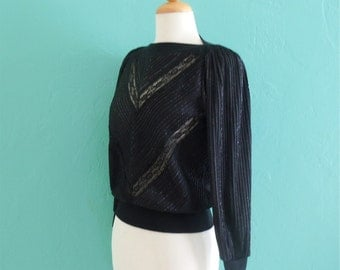 70's black lace metallic boat neck top ~ xs small