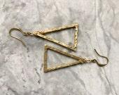 Raw Brass Triangle Dangle Earrings