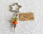 Star Bag Clip, Hand Stamped Key Ring, Star Shaped Key Ring, Lampwork Key Fob, Needlework Fob, Stamped Metal Key Ring, Needlepoint Phrases