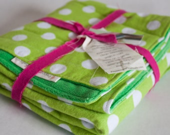 Green Polka Dot Cuddly Baby Blanket