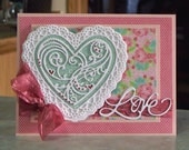 """Handmade 3-D Valentine's Day Card - 5"""" x 6 1/2"""" - Large Die-Cut Heart Paper Doily with Roses Background"""