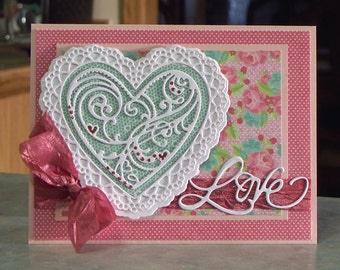 "Handmade 3-D Valentine's Day Card - 5"" x 6 1/2"" - Large Die-Cut Heart Paper Doily with Roses Background"