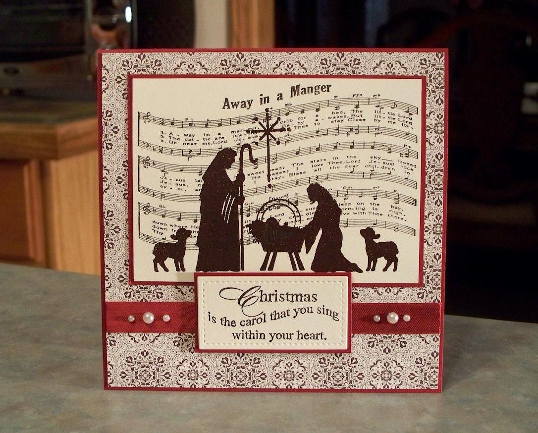 Handmade Religious Christmas Card Embossed Nativity Scene