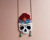 Frida Kahlo Skull Necklace