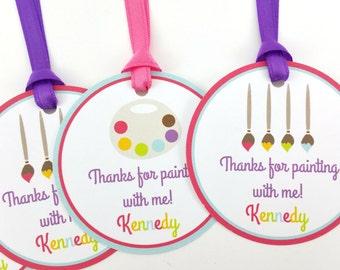 Art Party Favor Tags, Paint Party Favor Tags, Paint Favor Tags, Paint Tags, Paint Party Decorations, Art Party Decorations - SET OF 12