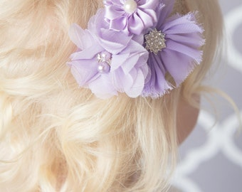 Lavender hair clip, purple flower clip, girl hair accessory, girl birthday gift, baby hair clip, photography prop, wedding flower clip