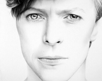 David Bowie Pencil Drawing Fine Art Portrait Signed Print