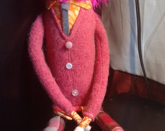 Pink Bearded Fabric Hipster Boy Doll in Pink Sweater and Orange Shirt