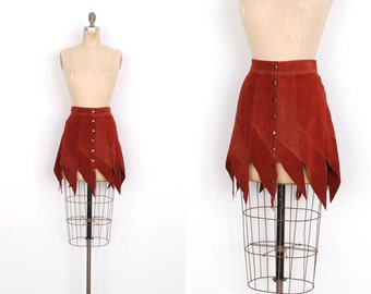 Vintage 1960s Skirt / 60s Suede Fringed Mini Skirt / Brown (small S)