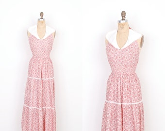 Vintage 1970s Dress / 70s Floral Halter Maxi Dress / Red and White (small S)