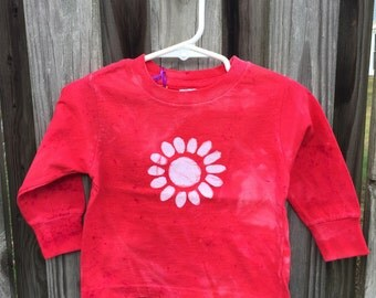 Flower Girls Shirt, Kids Flower Shirt, Girls Flower Shirt, Red Flower Shirt, Red Daisy Shirt, Long Sleeve Kids Shirt (18 months) SALE