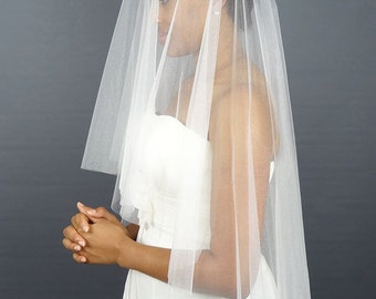 Soft Wedding Veil, White Circular Veil, Cut Edge Bridal Veil, Waist Length Veil
